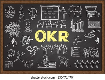 Hand drawn illustration about OKR - Objectives and key results . Stock illustration