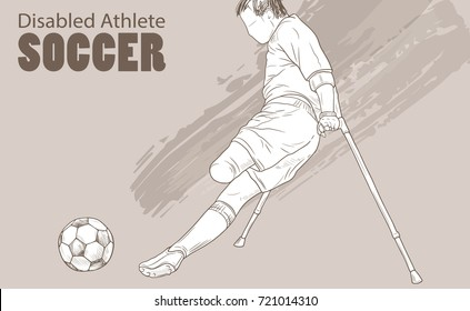 Hand drawn illustration. Amputee Football player. Vector sketch sport. Graphic silhouette of disabled athlete on crutches with a ball. Active people. Recreation lifestyle. Man. Handicapped people.