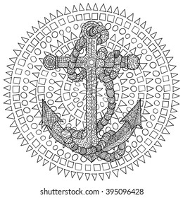 Hand drawn illustration of an anchor and rope in the zentangle style. Sketch for tattoo, poster, print, t-shirt in zendoodle style. Adult antistress coloring page. Vector.