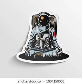Hand drawn illustration of astronaut, uniform, vector illustration