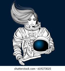 Hand drawn illustration of astronaut woman in spacesuit with helmet in hand and long hair. Design for tattoo, space travel art for t-shirt, adult coloring book page. Isolated vector on background.