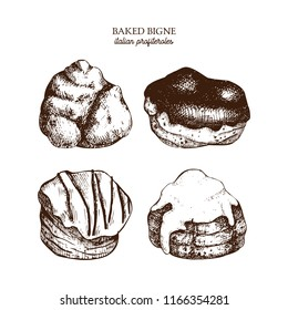 Hand drawn illustration of baked bigne.  Cream puffs or profiteroles sketches. Vector drawing of italian desserts on white background. Vintage food set for cafe or restaurant menu design.