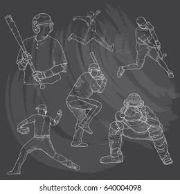 Hand drawn illustration of baseball players on chalkboard.