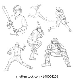 vector line sketch construction worker stock vector royalty free Construction Signs hand drawn illustration of baseball players