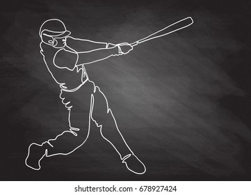 Hand drawn illustration of baseball players,Continuous Line Drawing or One Line Drawing of Baseball Player