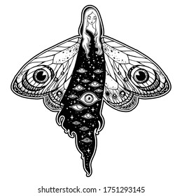 Hand drawn illustration of the beautiful girl with butterfly/moth wings. Isolated vector illustration. Fantasy, occultism, tattoo art, coloring books, prints.