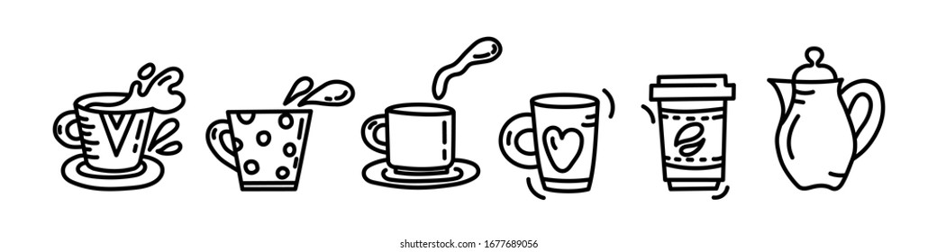 Hand drawn illustration in black and white symbols of mugs and cups for tea coffee. Vector illustration for cafe, coffee houses, restaurant
