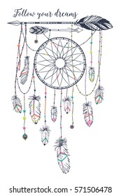 """Hand drawn illustration in boho style. Boho style. """"Follow your dreams"""" motivational poster"""
