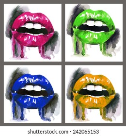 Hand drawn illustration with bright colorful lips in frame. Watercolor vector set