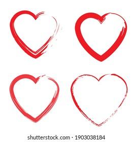 Hand drawn illustration with brush hearts set. Hand drawn doodle. Grunge design elements. Stock image. EPS 10.
