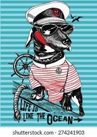 Hand drawn illustration of bulldog sailor