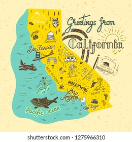 Hand drawn illustration of California map with tourist attractions. Travel  concept. Template for card, poster, banner, print for t-shirt, pin, badge, patch.