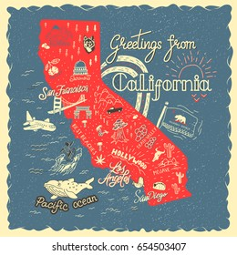 Hand drawn illustration of California map with tourist attractions. Travel concept.