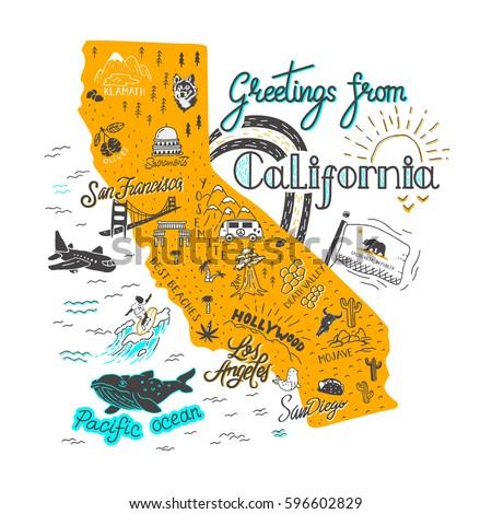 Hand Drawn Illustration California Map Tourist Stock Vector Royalty