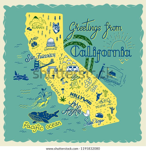 Hand Drawn Illustration California Map Tourist Stock-Vrgrafik ... on