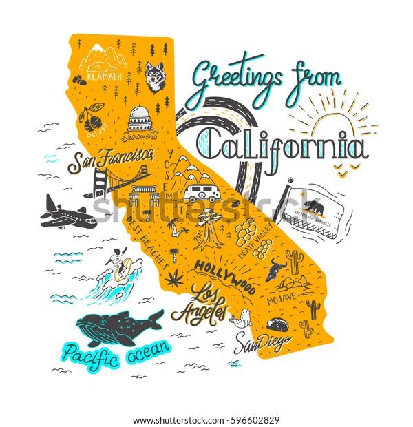 Kasin Piirretty Kuva Kalifornian Kartta Nahtavyyksia
