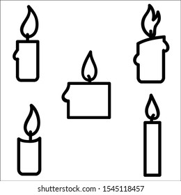 Hand drawn illustration of candle set, on white vector illustratration.