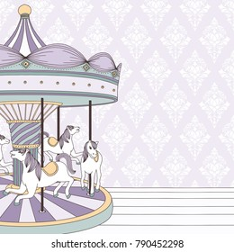 Hand drawn illustration of a carousel with horses and damask background
