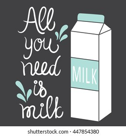 Hand drawn illustration with a carton of milk. Sketch background vector. Doodle design All you need is milk. Positive concept