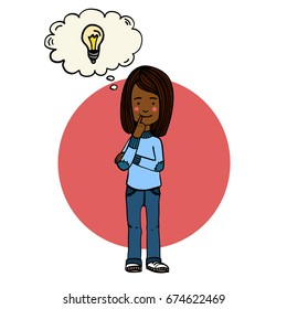 Hand drawn illustration of cartoon caucasian girl thinking or solving a problem, with a comic bubble with an idea sign above her head. Colorful drawing. Infographic, educational book, kids game.