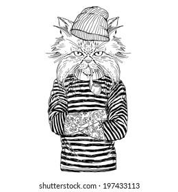 hand drawn illustration of cat sailor  in black and white