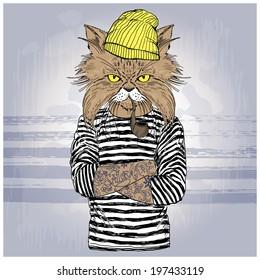 hand drawn illustration of cat sailor