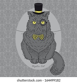 Hand Drawn Illustration of Cat in Top Hat and Monocle