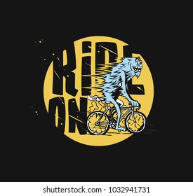 Hand drawn illustration of catoon male riding bicycle, transportation, vector illustration