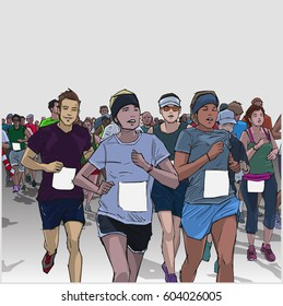 Hand drawn illustration of cheerful crowd running marathon in color with blank signs