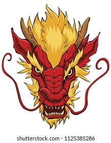 Hand drawn illustration of Chinese dragon in red and yellow.