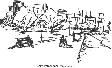 hand drawn illustration city park ,sketch vintage style,trees in the park