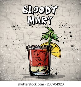 Hand drawn illustration of cocktail. BLOODY MARY. Vector collection.