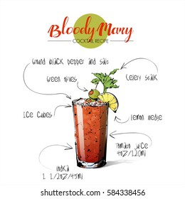 Hand drawn illustration of cocktail Bloody Mary. Vector collection.