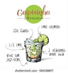 Hand drawn illustration of cocktail Caipirinha. Vector collection.