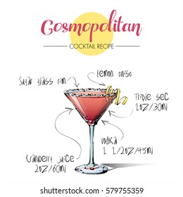 Hand drawn illustration of cocktail Cosmopoitan. Vector collection.