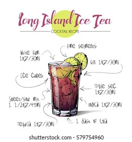 Hand drawn illustration of cocktail Long island ice tea. Vector collection.