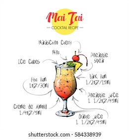 Hand drawn illustration of cocktail Mai tai. Vector collection.