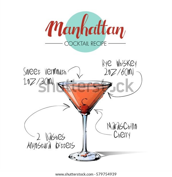 Hand Drawn Illustration Cocktail Manhattan Vector Stock Vector Royalty Free 579754939
