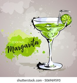 Hand drawn illustration of cocktail margarita