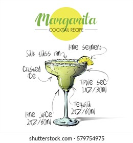 Hand drawn illustration of cocktail Margarita. Vector collection.