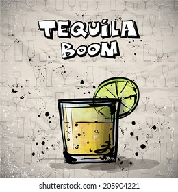 Hand drawn illustration of cocktail. TEQUILA BOOM. Vector collection.