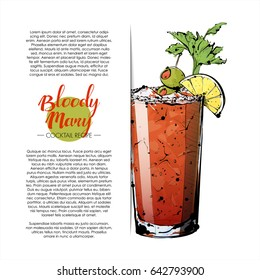 Hand drawn illustration of cocktail. Vector collection. Place for your recipe.