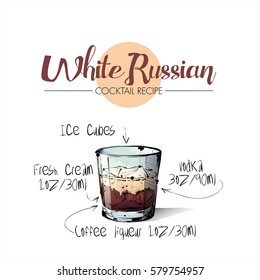Hand drawn illustration of cocktail White russian. Vector collection.