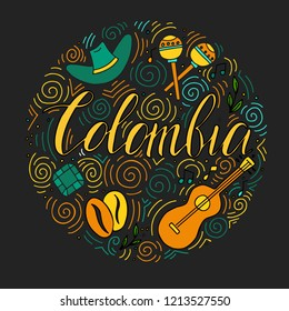 The hand drawn illustration of Colombian symbols with lettering elements. It can be used as a background, souvenir products, post card and banner.