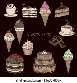 Hand drawn illustration of color cakes, chocolate, coffee, cappuchino and ice creams isolated on dark background.