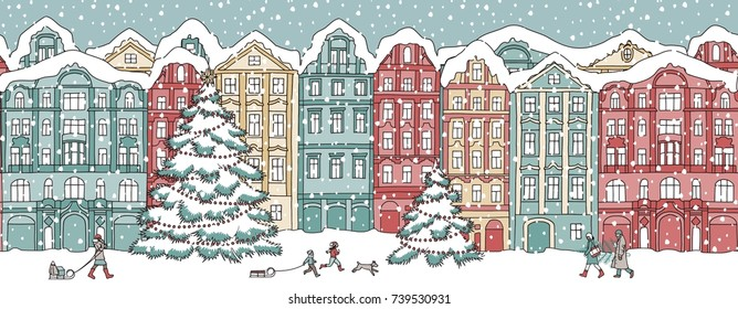 Hand drawn illustration of colorful houses in winter at Christmas time, seamless banner that can be tiled horizontally