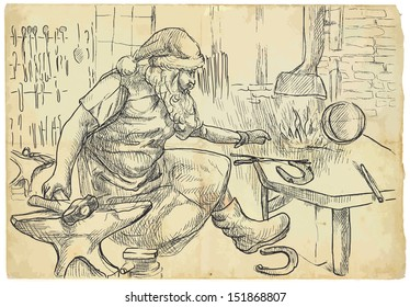 An hand drawn illustration converted into vector (original drawing, no tracing): Christmas theme. Santa Claus in the smithy manufactures horseshoes (for his reindeer).