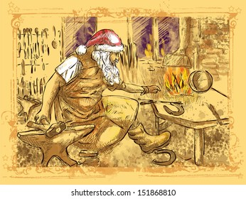 An hand drawn illustration converted into vector (original drawing, no tracing - color version): Christmas theme. Santa Claus in the smithy manufactures horseshoes (for his reindeer).