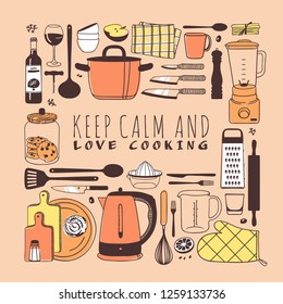 Hand drawn illustration cooking tools, dishes, food and quote. Creative ink art work. Actual vector drawing. Kitchen set and text KEEP CALM AND LOVE COOKING