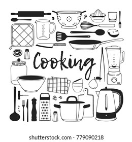 Hand Drawn Illustration Cooking Tools Dishes Stock Vector Royalty